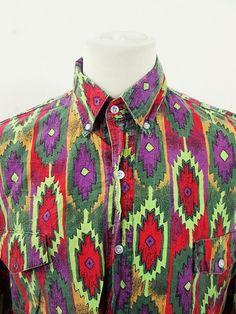 Vintage Amazing Indie Geometric Print American Cowboy Western Shirt XL