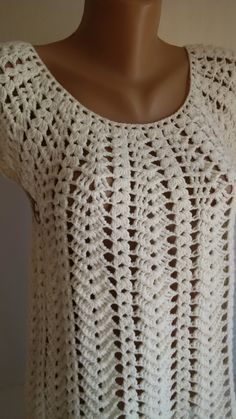 Diy Crafts - BEIGE CROCHET BLOUSE This beautiful beige crochet blouse is perfect for summer, it is very comfortable. Blouse Au Crochet, Gilet Crochet, Crochet Stitches, Crochet Woman, Hand Crochet, Knit Crochet, Crochet Designs, Crochet Patterns, Spring Blouses