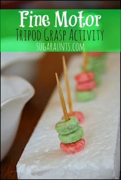Motor Tripod Grasp Activity for Kids Fine motor activity for kids. Practice tripod grasp, work on colors, have a snack :) By Sugar AuntsFine motor activity for kids. Practice tripod grasp, work on colors, have a snack :) By Sugar Aunts Fine Motor Activities For Kids, Motor Skills Activities, Gross Motor Skills, Preschool Activities, In Kindergarten, Fun Learning, Snacks, Play Activity, Recycled Materials