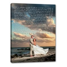 your wedding portrait / photo and your wedding vows or first dance lyrics ! such a special keepsake. wall art - canvas photos