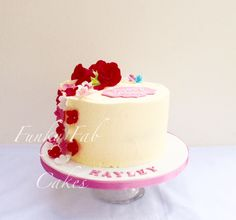 Buttercream cake with sugar flowers 30th birthday cake