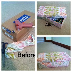 DYI box! Easy to do! All you need is a hot glue gun and glue, a form of fabric (I use old bandanas) and a shoebox!