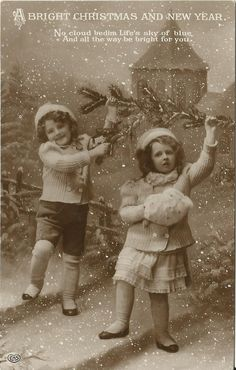 Postcard Two Children Christmas & New Year Vintage Used - Christmas Postcard…