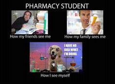 Well, considering I'm not a pharmacy student, this doesn't really apply to me...but the idea of it completely does! My family sees me a lot better than I do!