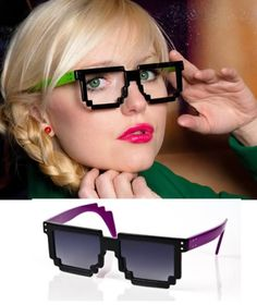 Pixelated Glasses ...these better come with the option for prescription lenses because their target audience is known to have bad vision!