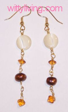 Autumn Pearl Drops Beaded Earrings