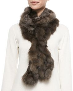D0RLQ Gorski Ruffled Sable Fur Scarf, Brown