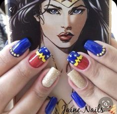The Most Popular Nail Shapes – NaiLovely Cartoon Nail Designs, Diy Nail Designs, Nail Designs Spring, Nails For Kids, Manicure E Pedicure, Manicure Ideas, Love Nails, Fun Nails, Superhero Nails
