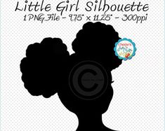 Afro Puffs Little Girl Silhouette Little by CheriesArtsnCrafts