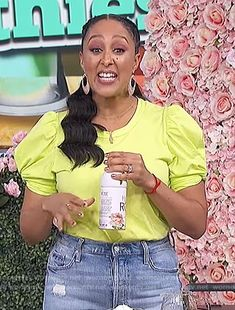 Tamera's yellow ruched sleeve tee on The Real Tamera Mowry, V Neck Dress, Billabong, Poplin, Fashion Outfits, Fashion Ideas, One Shoulder, Nordstrom, Lady