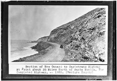 "PCH, north of Zuma ""Section of New Oxnard to Capistrano Hwy at point about 25 miles north of Santa Monica. The completed highway. Hwy 1 California, Southern California, West Los Angeles, Los Angeles Area, Belle Epoch, Ventura County, Time Warp, Gilded Age, Santa Monica"