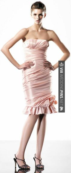 So neat! - Strapless trumpet style knee-length dress   CHECK OUT MORE GREAT PINK WEDDING IDEAS AT WEDDINGPINS.NET   #weddings #wedding #pink #pinkwedding #thecolorpink #events #forweddings #ilovepink #purple #fire #bright #hot #love #romance #valentines #pinky