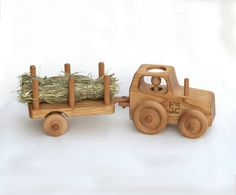 Wooden Toy Tractor - Wooden Car  - Waldorf toy - Solid Chestnut wood