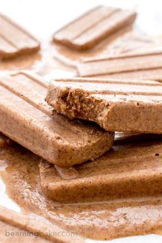 Chocolate Peanut Butter Banana Popsicles (V+GF): Just 6 ingredients to creamy, delicious chocolate peanut butter popsicles that taste like an ice cream sundae. #Vegan #GlutenFree | BeamingBaker.com