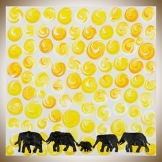 """Colorful animal art yellow white Oil painting wall decor wall art home decorative art wall hangings """"The Journey"""" by QIQIGALLERY by QiQiGallery on Etsy"""
