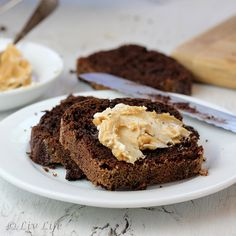 Double Chocolate Quick Bread with Cream Cheese and Peanut Butter Spread