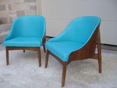 Mid Century Modern Aqua Blue Kodawood Pair of Vintage Lounge Chairs! #DanishModern
