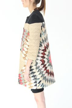 Such a good side view!  One of a kind quilt coat at Beklina. Made in NYC out of a vintage quilt.