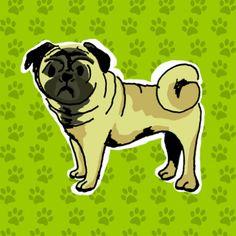 Mopshond op groen, verkrijgbaar bij #kaartje2go voor €1,79