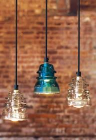 recycle glass insulators into pendant lights #diy #tutorial     Somewhere in my Moms garage is a crate of these buried from back when .y dad worked at Union Pacific Railroad