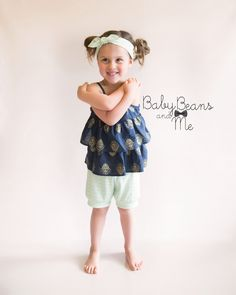 Shorts- baby and toddler organic Anchors or Mint shorts Baby Beans and Me