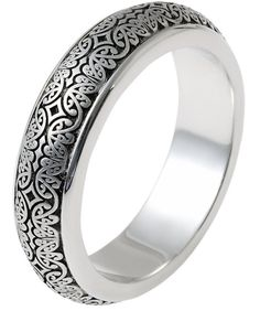 Platinum Verona Lace Wedding Band, Romeo | www.weddingbands.com | @Wedding Bands