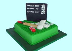 For Cake's Sake by Camila Renault: Cricket Cake Cricket Birthday Cake, Cricket Theme Cake, 7th Birthday Party Ideas, 65th Birthday, Birthday Cakes, Dad Cake, Sport Cakes, Cake Business, Types Of Cakes