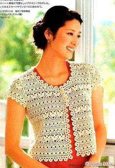 Scurt sacou tracery model frumos. Cârlig. - Moda tricotate + la NEMODELNYH LADIES - acasă Mamele