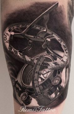 Black White Sundial Compass Tattoo - Remis tattoo  #tattoo #art