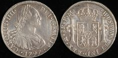 #Mexico 8 Reales, 1797. Check out more fascinating World Coins at meridiancoin.com, see what's selling on our eBay page, or come to our store in #Torrance CA. #coin #money #numismatic #numismatist #collecting #MeridianCoin