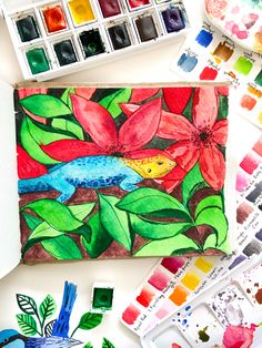 Watercolor painting, painting, khadipaper, watercolour, lizard Colorful Lizards, Watercolour Painting, Paper, Idea Paint, Watercolor
