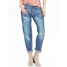 Old Navy Womens Boyfriend Button Fly Jeans (€16) ❤ liked on Polyvore featuring jeans, pants, blue, petite, blue jeans, destructed boyfriend jeans, white distressed boyfriend jeans, white jeans and white denim jeans