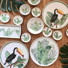 """2,086 Likes, 94 Comments - AZarraluqui (@azarraluqui) on Instagram: """"Max twins and their banana leaves! #tropical #toucan #dinnerware #onmytable #art #maxthetoucan"""""""