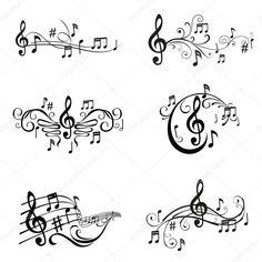 Ensemble d'illustration de notes de musique - vecteur