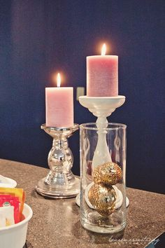Pink or purple candles would be pretty (probably not lit, just for decor)
