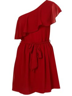 Best Red Dress Top Shop One Shoulder Ruffle Dress by Rare