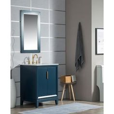 Water Creation Elizabeth 24-in Monarch Blue Single Sink Bathroom Vanity with Carrara White Natural Marble Top in the Bathroom Vanities with Tops department at Lowes.com Ceramic Undermount Sink, Lavatory Faucet, Vanity Set With Mirror, Blue Vanity, Marble Vanity Tops, Single Sink Bathroom Vanity, Stone Countertops, Cabinet Styles, Bath Vanities