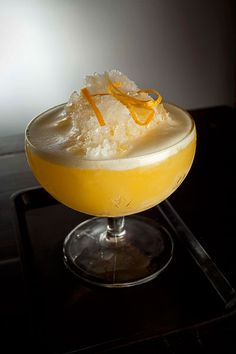 Punch Romaine: rum, lemon, orange, and Champagne, just like they served at the final dinner on the Titanic.