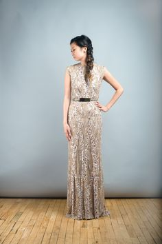 I found this at @Nearly Newlywed bridal boutique #wedding Elie Saab Light Taupe Fully Sequined Wedding Dress
