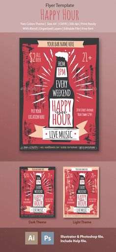 Happy Hour Flyer   -  PSD Template • Only available here! ➝ https://graphicriver.net/item/happy-hour-flyer-template/13830011?ref=pxcr