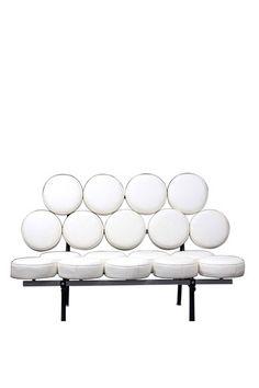 Deco circle sofa, white leather by California Modern Classics