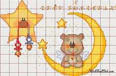 Una discreta raccolta di schemi a punto croce per bambini con luna, stelline, angioletti, fiocchi: impossibile non amarli e non ricamarli