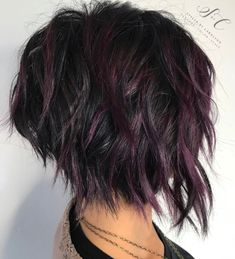 Black Shaggy Bob With Purple Balayage