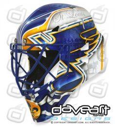 Mckenna's New St. Hockey Goalie, Hockey Players, Goalie Mask, Blue Mask, St Louis Blues, Masked Man, Cool Store, Go Blue, Nhl