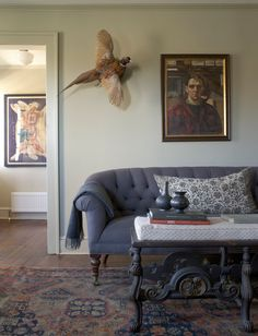 Gorgeous Mitchell Gold And Bob Williams convention New York Farmhouse Living Room Image Ideas with antique coffee table with ornate legs farrow and ball paint framed painted portrait gray