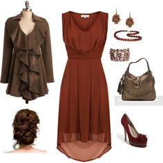 rust, created by kristen-344.polyvore.com. love this coat--too bad it's sold out.