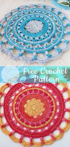 Crochet mandala blanket life Ideas for 2019 Crochet Pillow Patterns Free, Crochet Mandala Pattern, Crochet Flower Patterns, Free Pattern, Crochet Designs, Crochet For Beginners Headband, Crochet For Beginners Blanket, Crochet Gifts, Diy Crochet