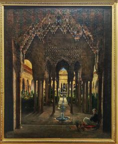 The Courtyard of the Lions from Alhambra in Granada Alexis Victor 1834. #detailing #painting #art #artwork #gorgeous #graphic #architecture #design #columns #colours #warm #fountain #instagood #instagram #instame #instadaily #follow #like4like #like #me