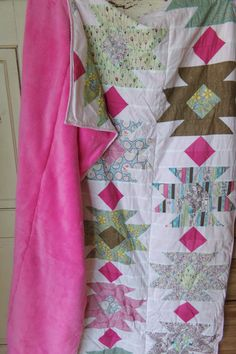 Tahoe Wildflower Minky Patchwork Blanket, Ready to Ship by laruedefleurs on Etsy