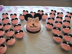 Minnie mouse smash cake & matching cupcakes By bluehawk1982 on CakeCentral.com